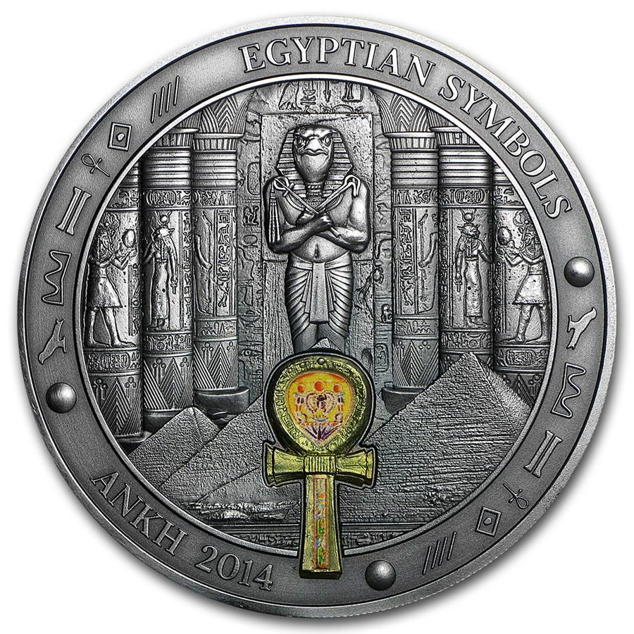 2014 Palau 3 Oz Silver Gilded Egyptian Symbols Ankh