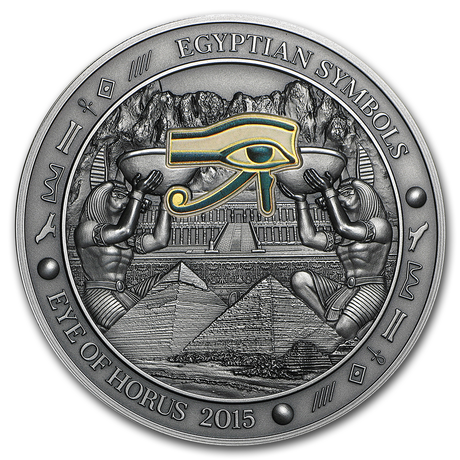 2015 Palau 3 oz Silver Gilded Egyptian Symbols (Eye of Horus)