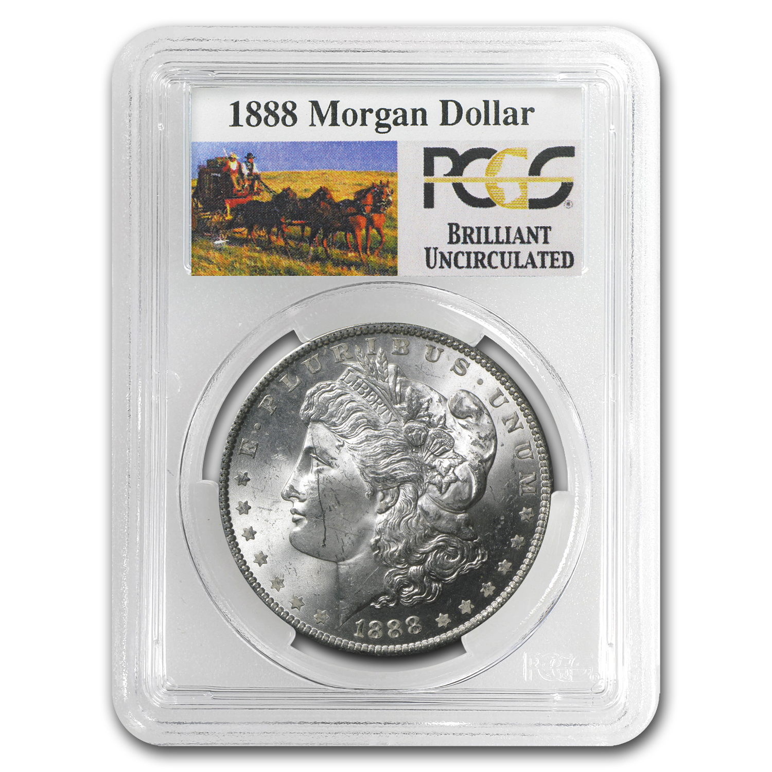 1888 Brilliant Uncirculated PCGS Stage Coach Silver Dollars
