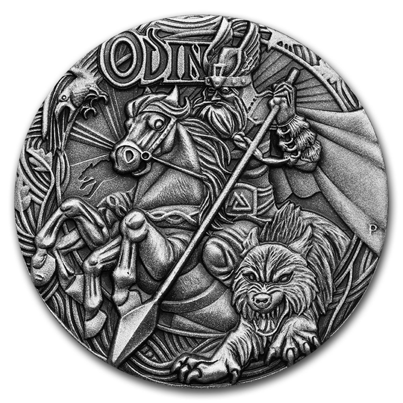 2016 Tuvalu 2 Oz Silver Norse Gods Odin Bu High Relief
