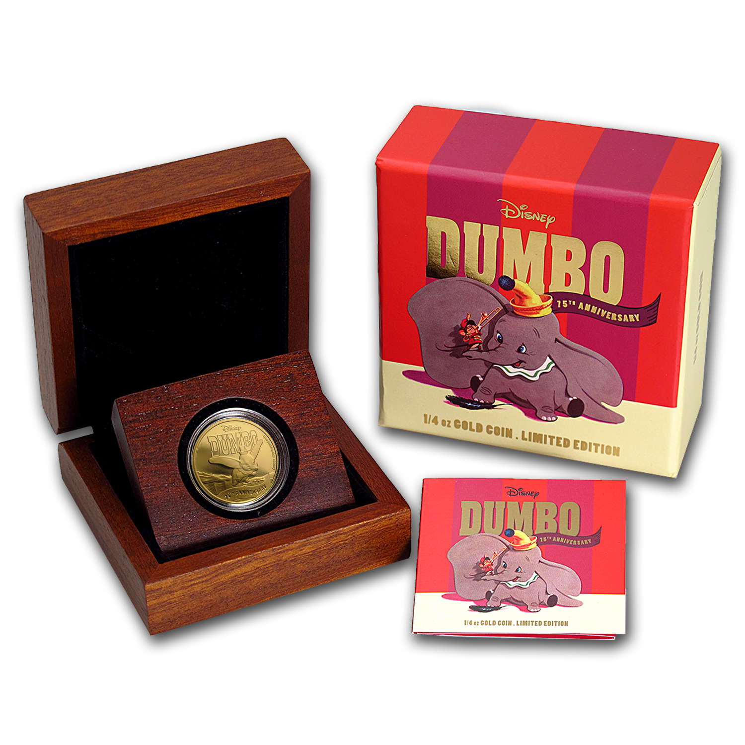 2016 Niue 1/4 oz Proof Gold $25 Disney 75th Anniversary of Dumbo