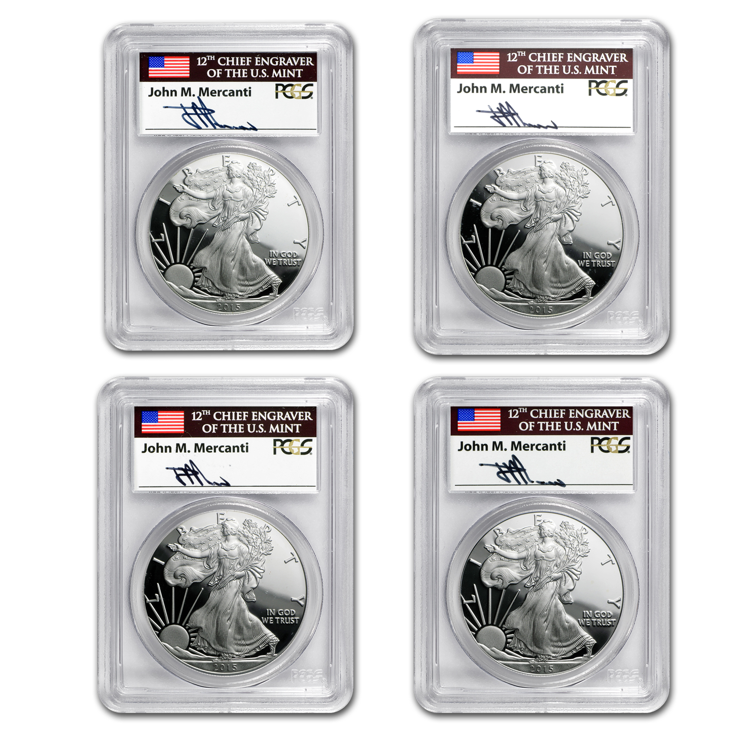 2015-W Proof Silver Eagle PR-70 PCGS (Mercanti, Set of 4)