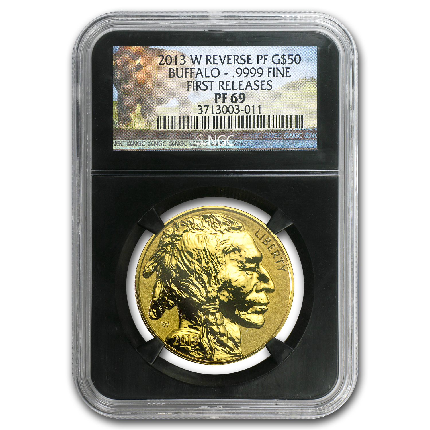 2013-W 1 oz Reverse Proof Gold Buffalo PF-69 NGC (Black Holder)