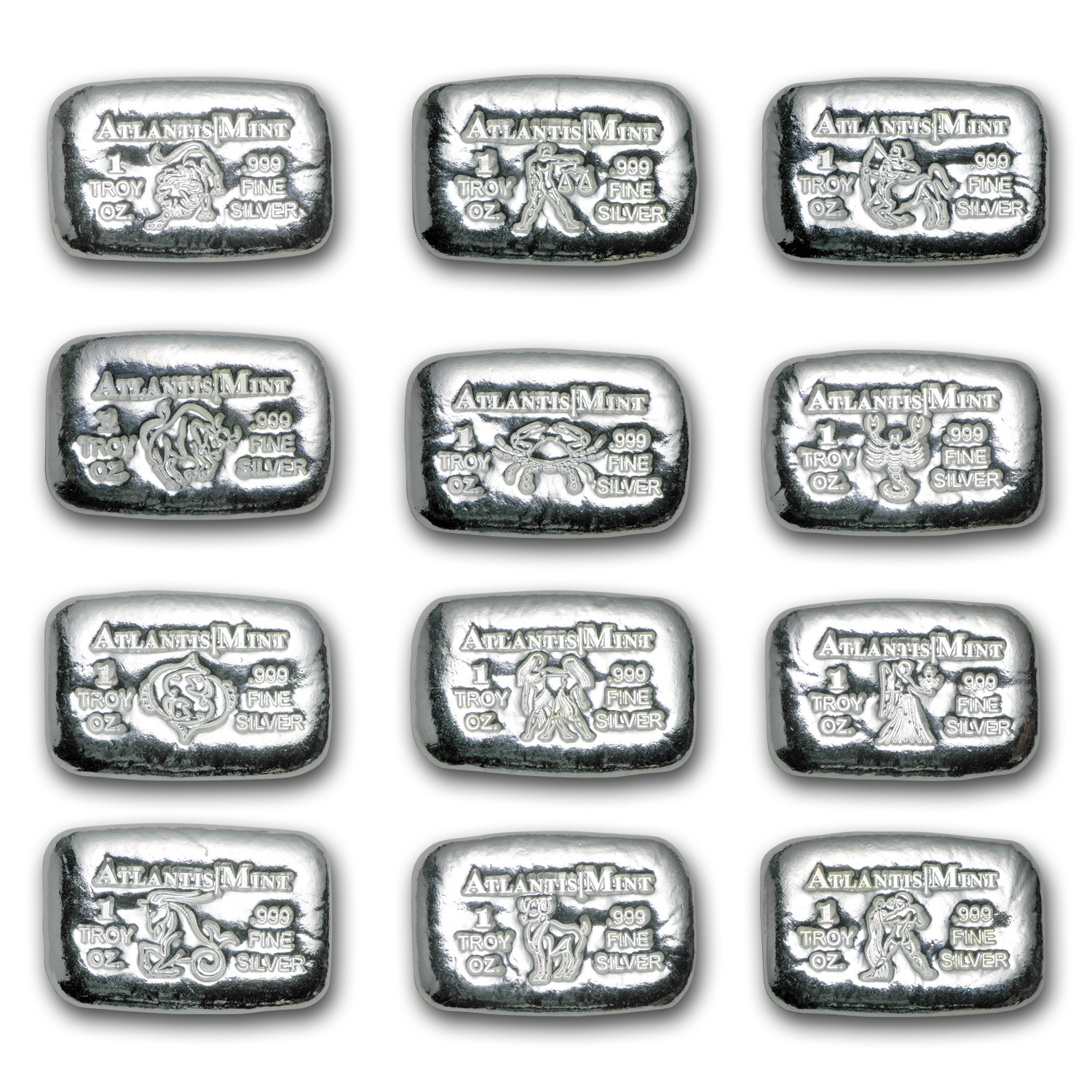 1 oz Silver Bar - Atlantis Mint (Zodiac Collection 12-Piece Set)
