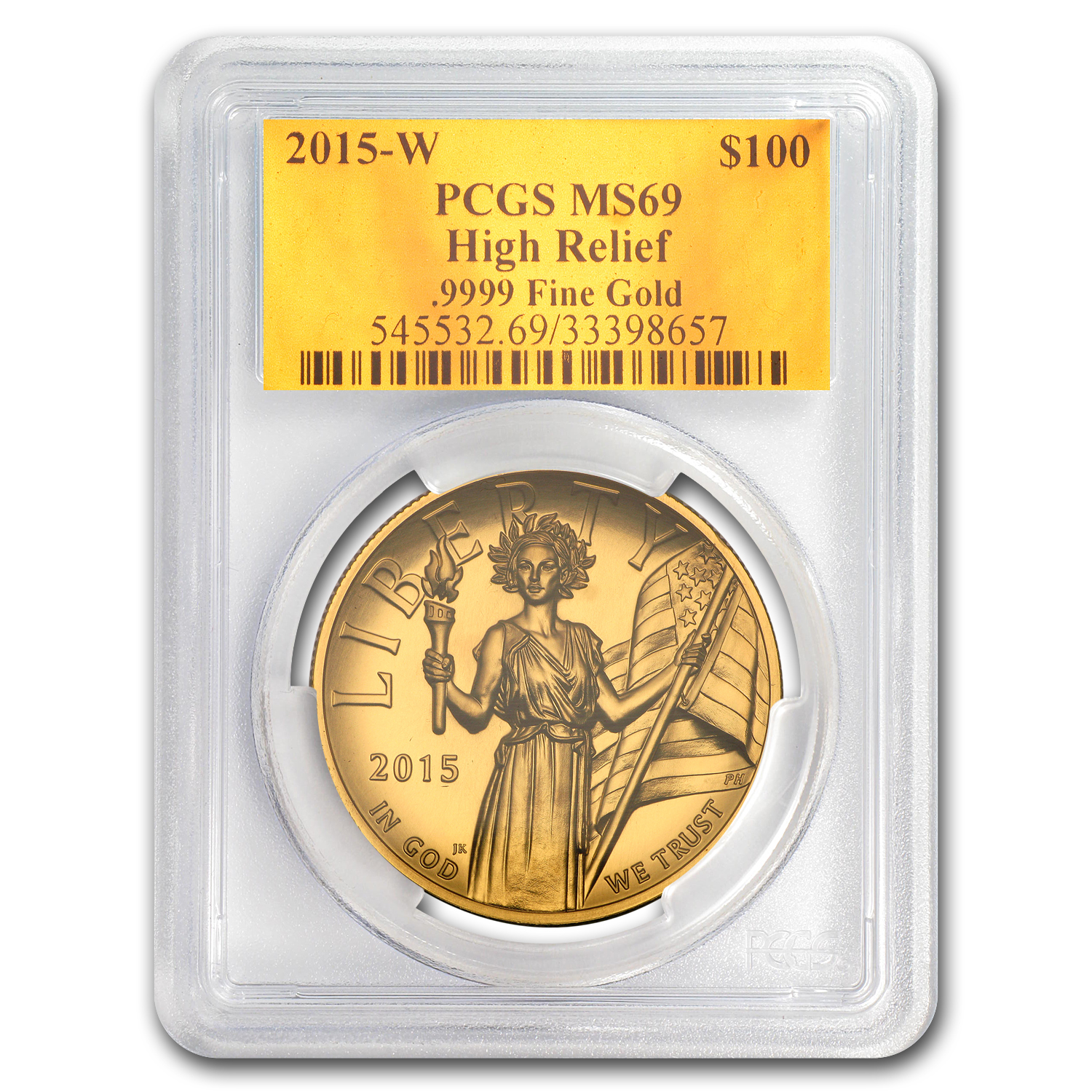 2015 High Relief American Liberty Gold MS-69 PCGS