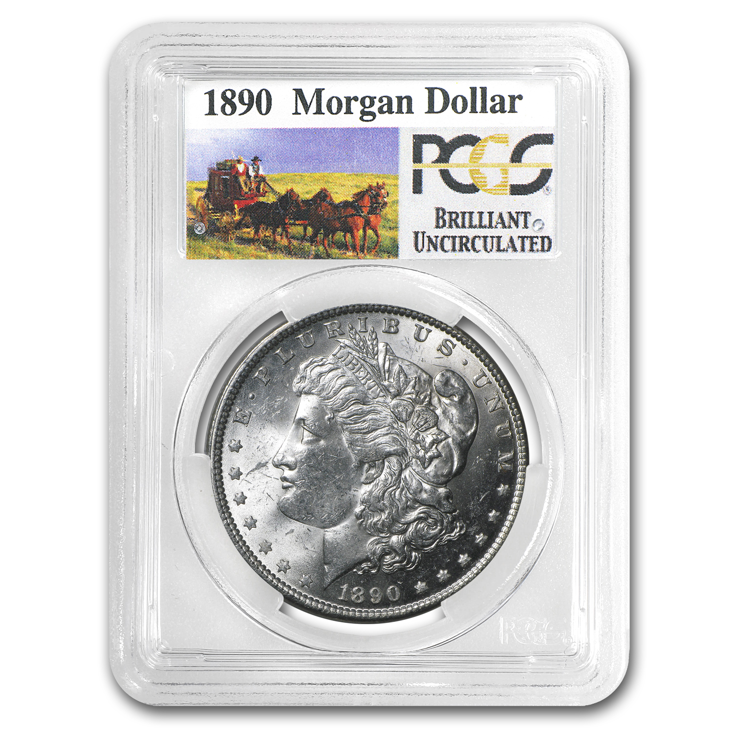 1890 Brilliant Uncirculated PCGS Stage Coach Silver Dollars