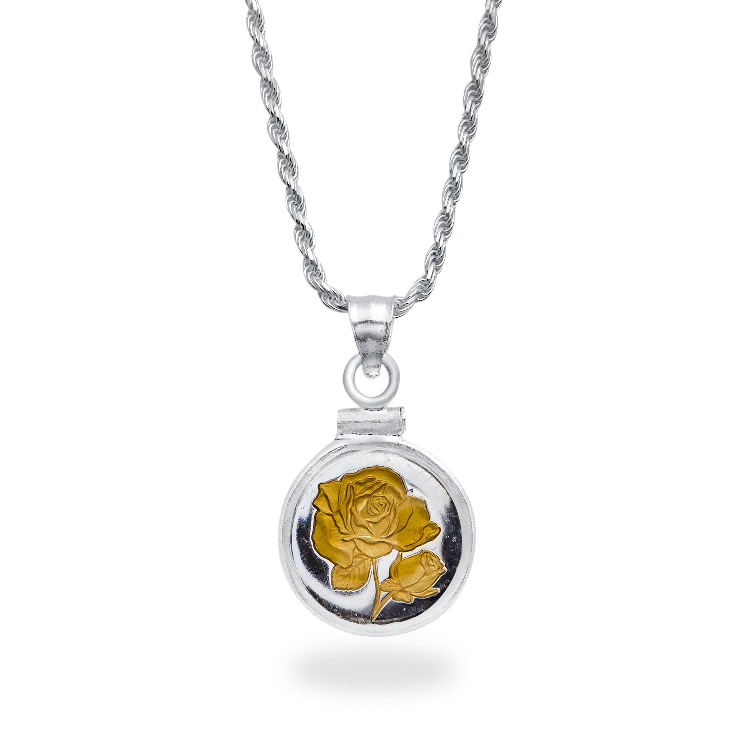 Sterling Silver Gilded Rose Necklace