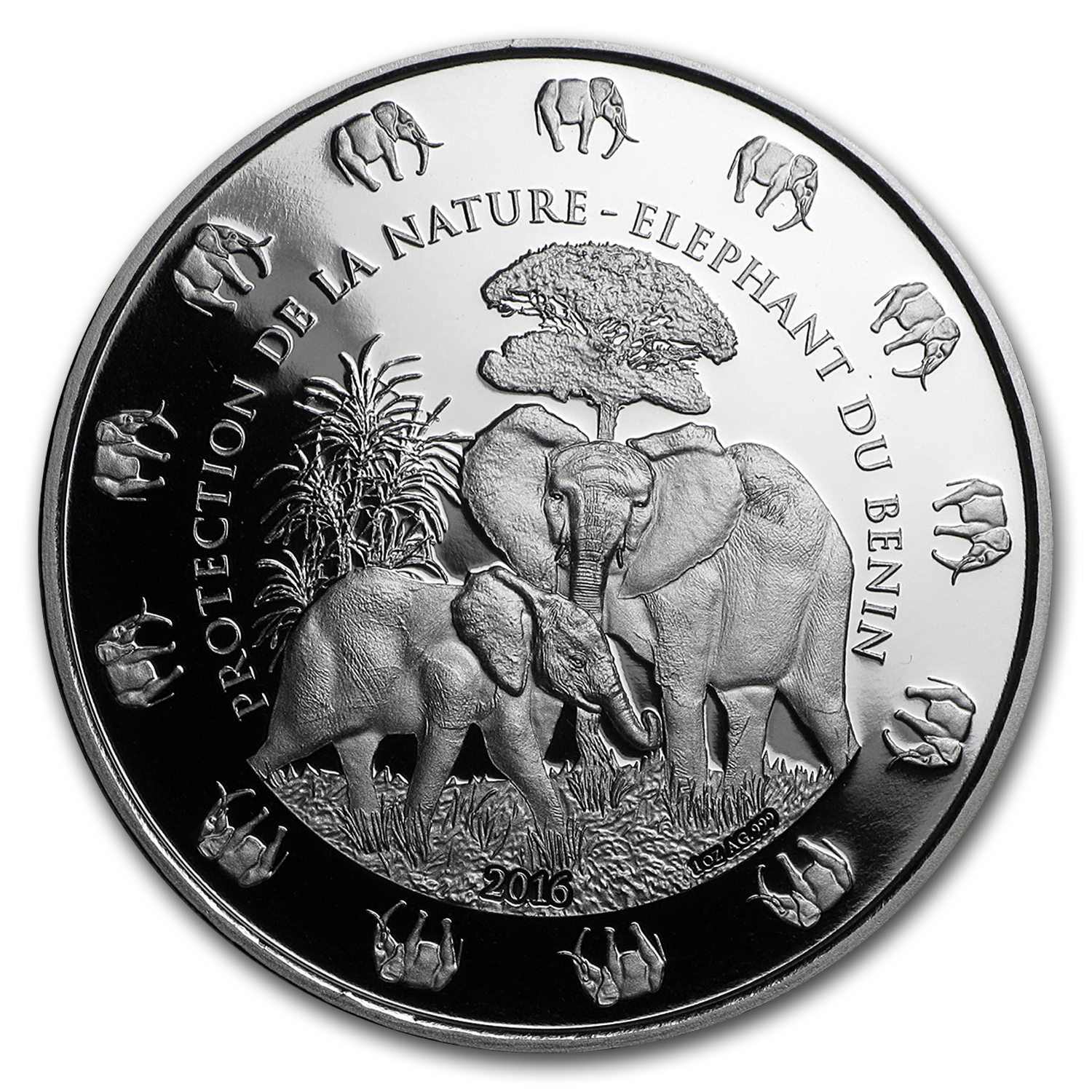 2016 Benin 1 oz Silver Protection de la Nature Elephant