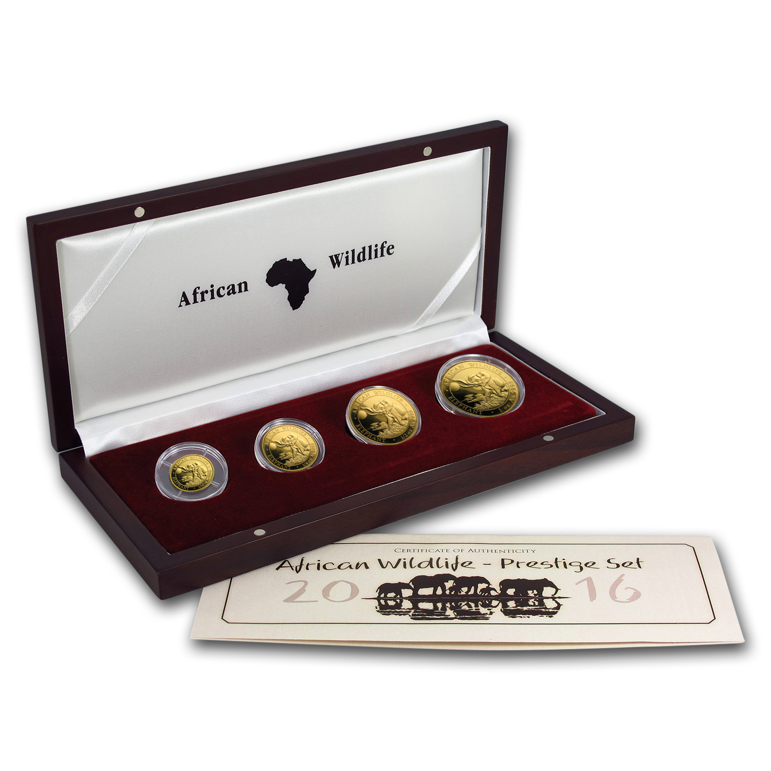 2016 Somalia 4-Coin Gold African Elephant Proof Set