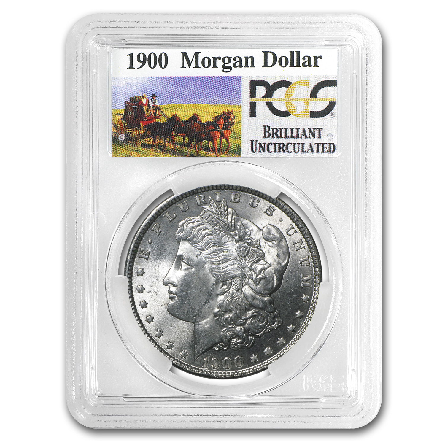 1900 Brilliant Uncirculated PCGS Stage Coach Silver Dollars