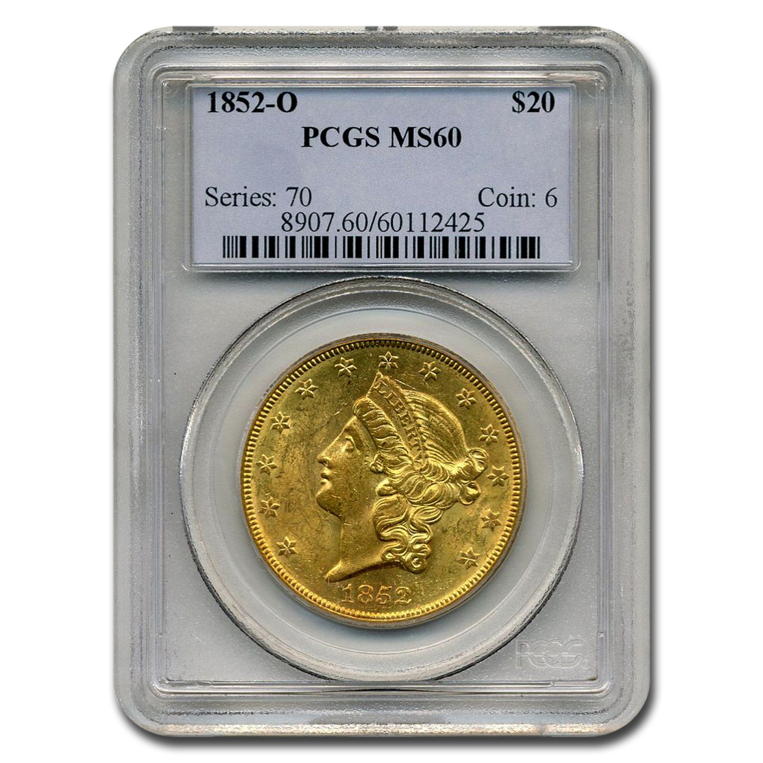 1852-O $20 Liberty Gold Double Eagle MS-60 PCGS