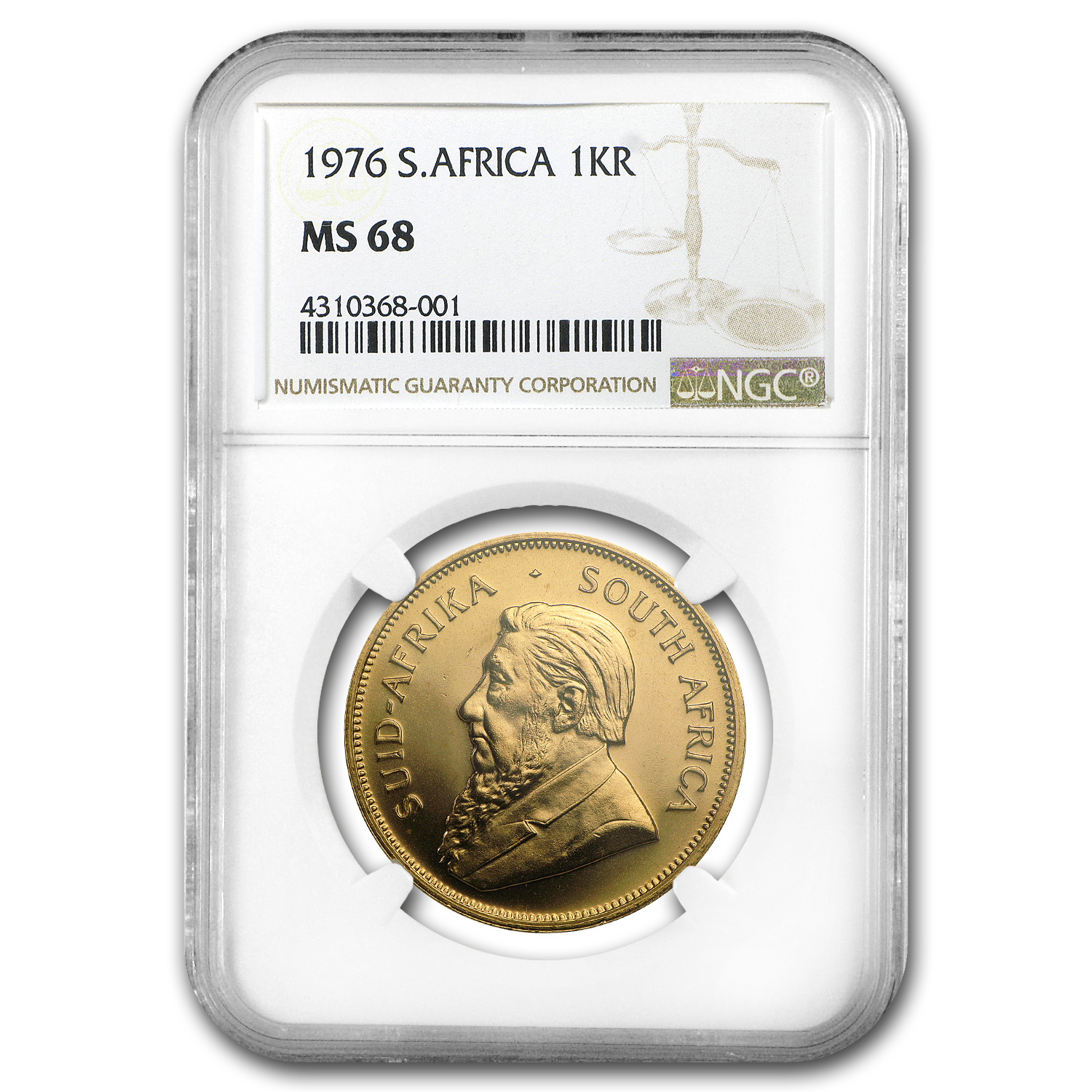 1976 South Africa 1 oz Gold Krugerrand MS-68 NGC