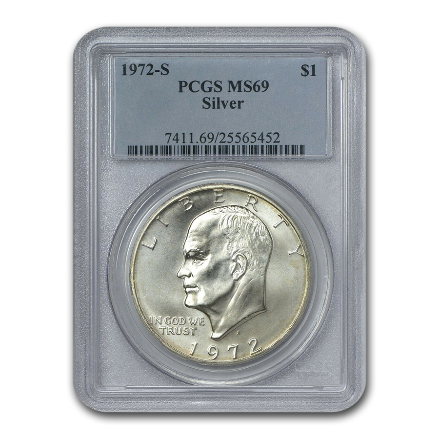 1972-S Silver Eisenhower Dollar MS-69 PCGS (Registry Set)
