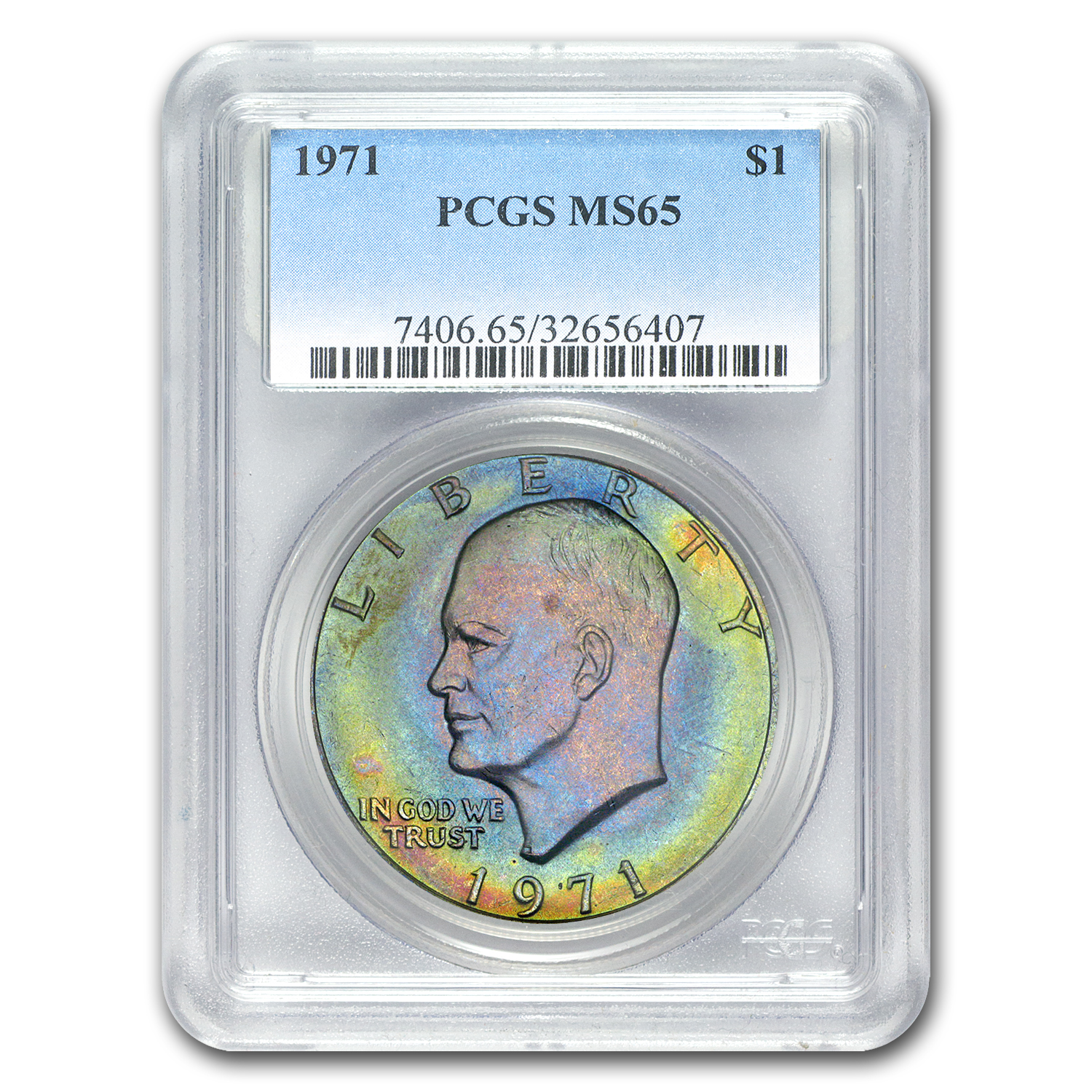 1971 Clad Eisenhower Dollar MS-65 PCGS (Superb Color)