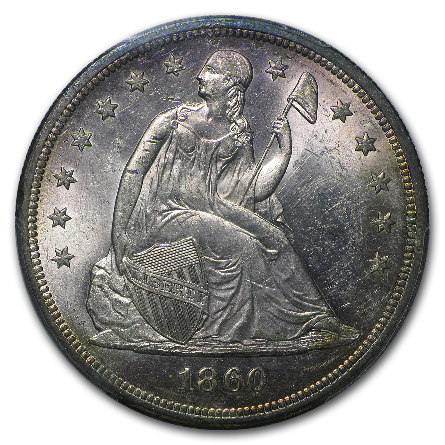 1860-O Liberty Seated Dollar MS-62 PCGS CAC