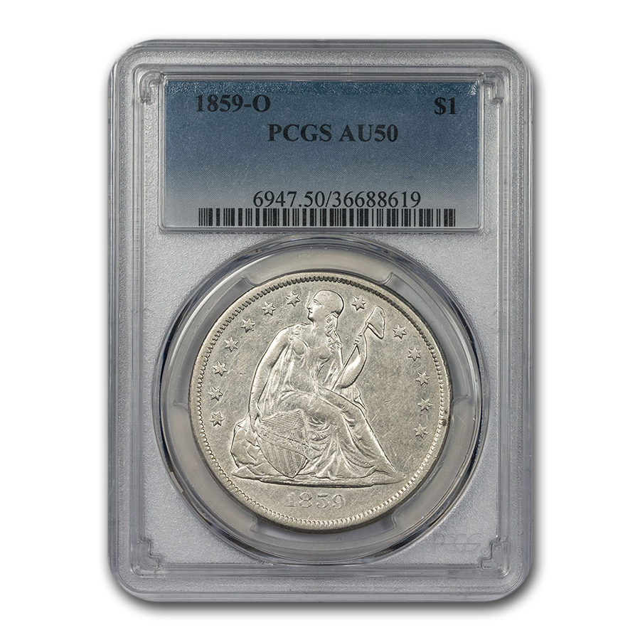 1859-O Liberty Seated Dollar AU-50 PCGS