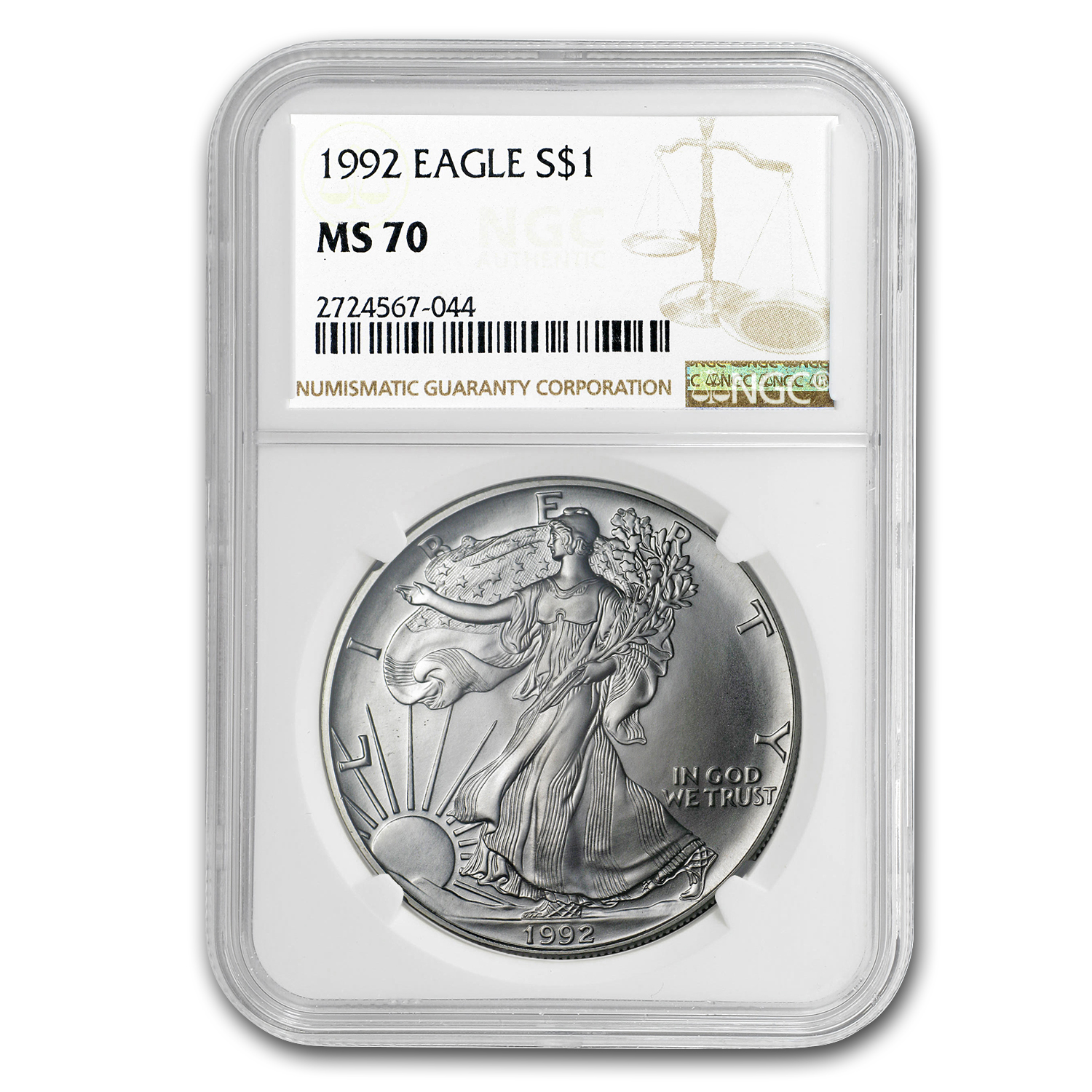 1992 Silver American Eagle MS-70 NGC (Registry Set)