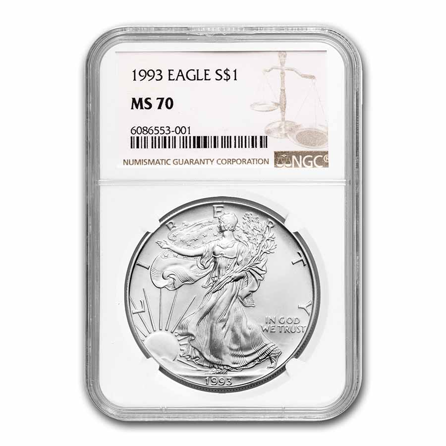 1993 Silver American Eagle MS-70 NGC (Registry Set)