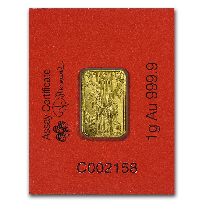 1 Gram Gold Bar Pamp Suisse Lunar Monkey Multigram 8 In