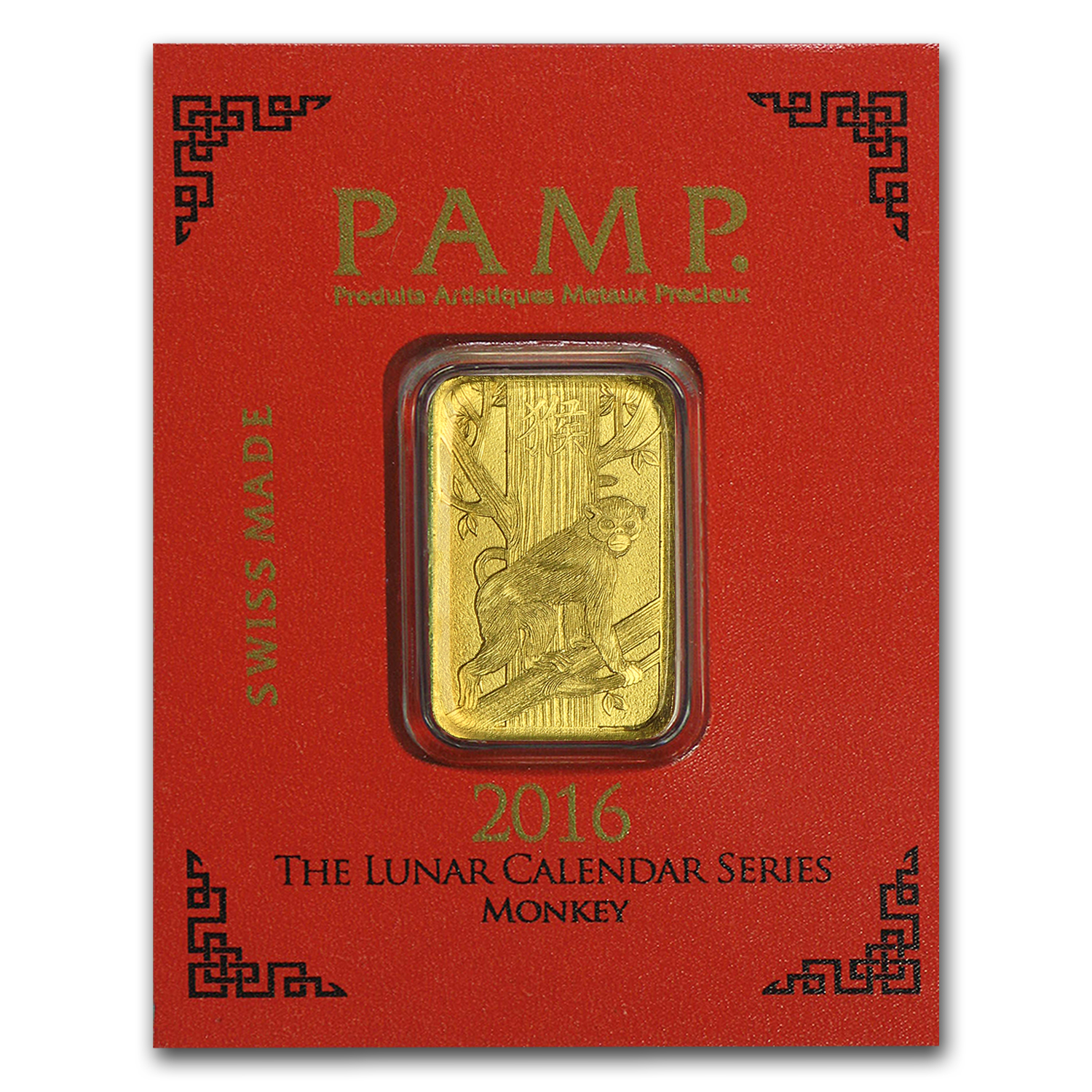 1 gram Gold Bar - PAMP Suisse Lunar Monkey Multigram+8 (In Assay)
