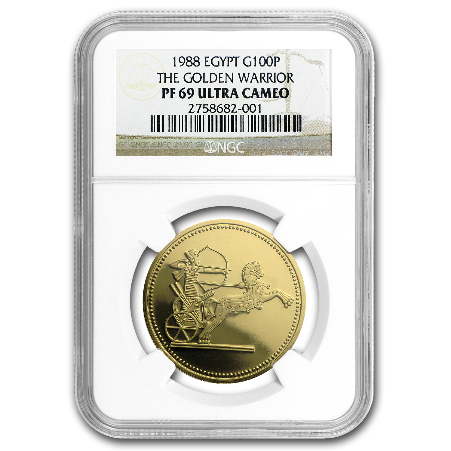 AH1408/1988 Egypt Proof Gold 100 Pound Golden Warrior PF-69 NGC