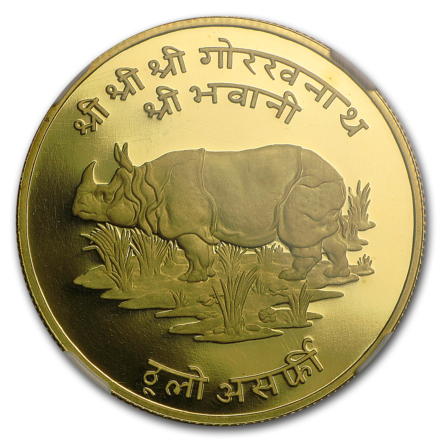 VS2031/1974 Nepal Gold 1,000 Rupees Indian Rhino PF-69 NGC