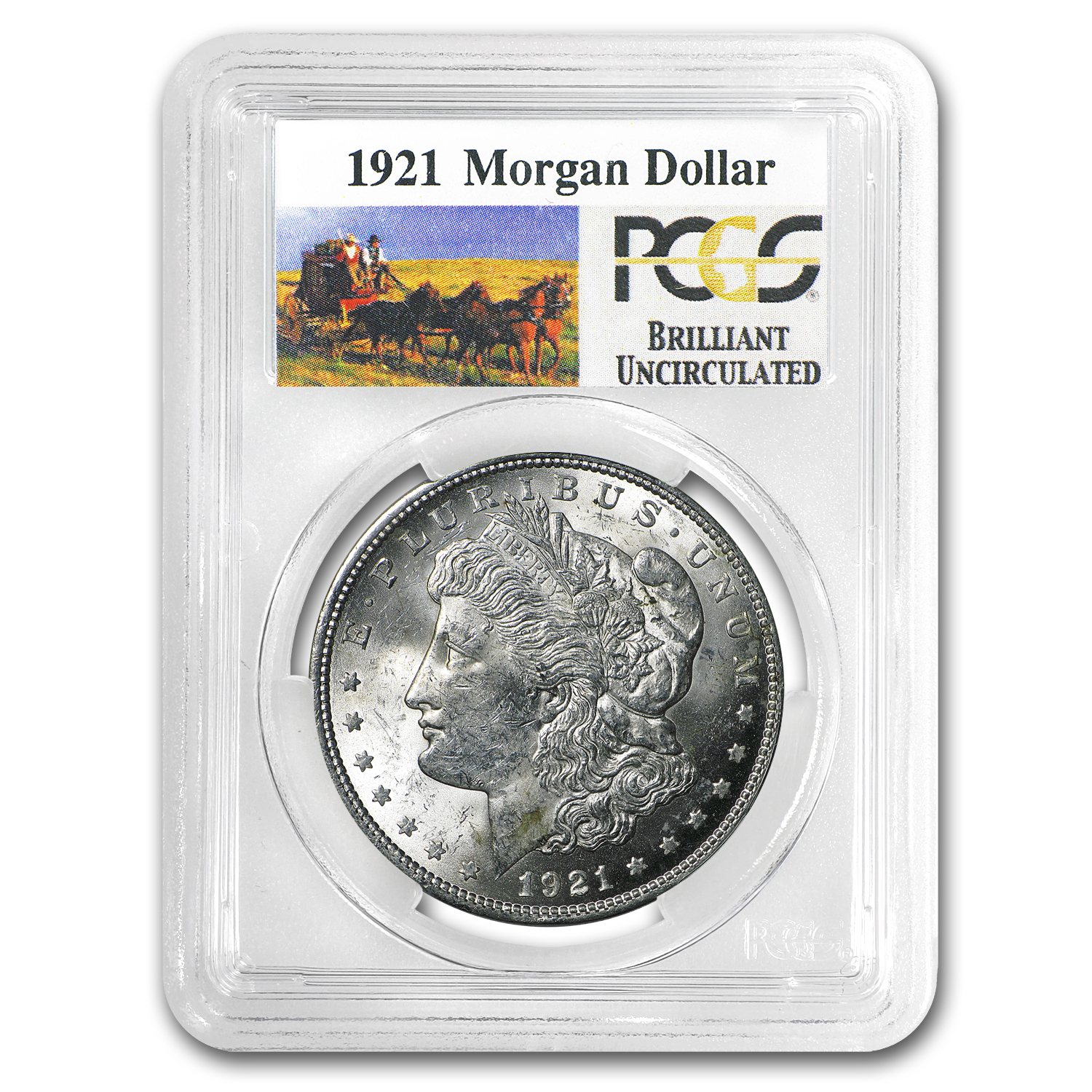 1921 Stage Coach Morgan Dollar BU PCGS