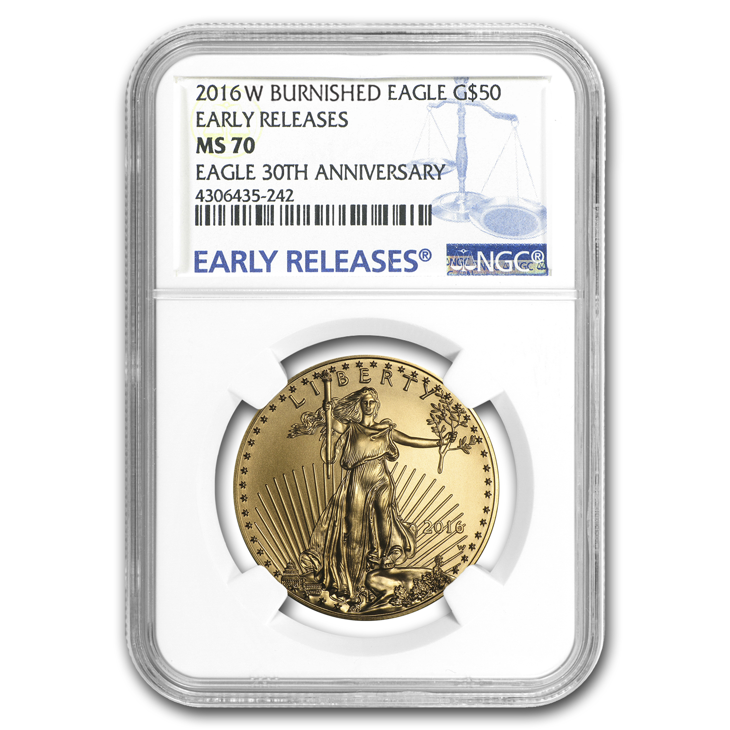 2016-W 1 oz Burnished Gold Eagle MS-70 NGC (ER)