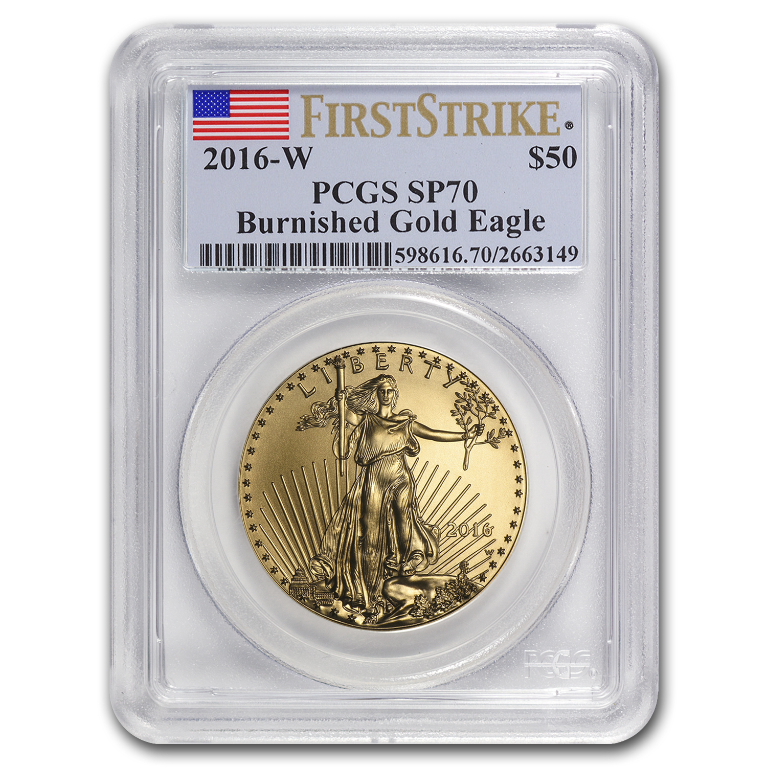 2016-W 1 oz Burnished Gold Eagle SP-70 PCGS (First Strike)