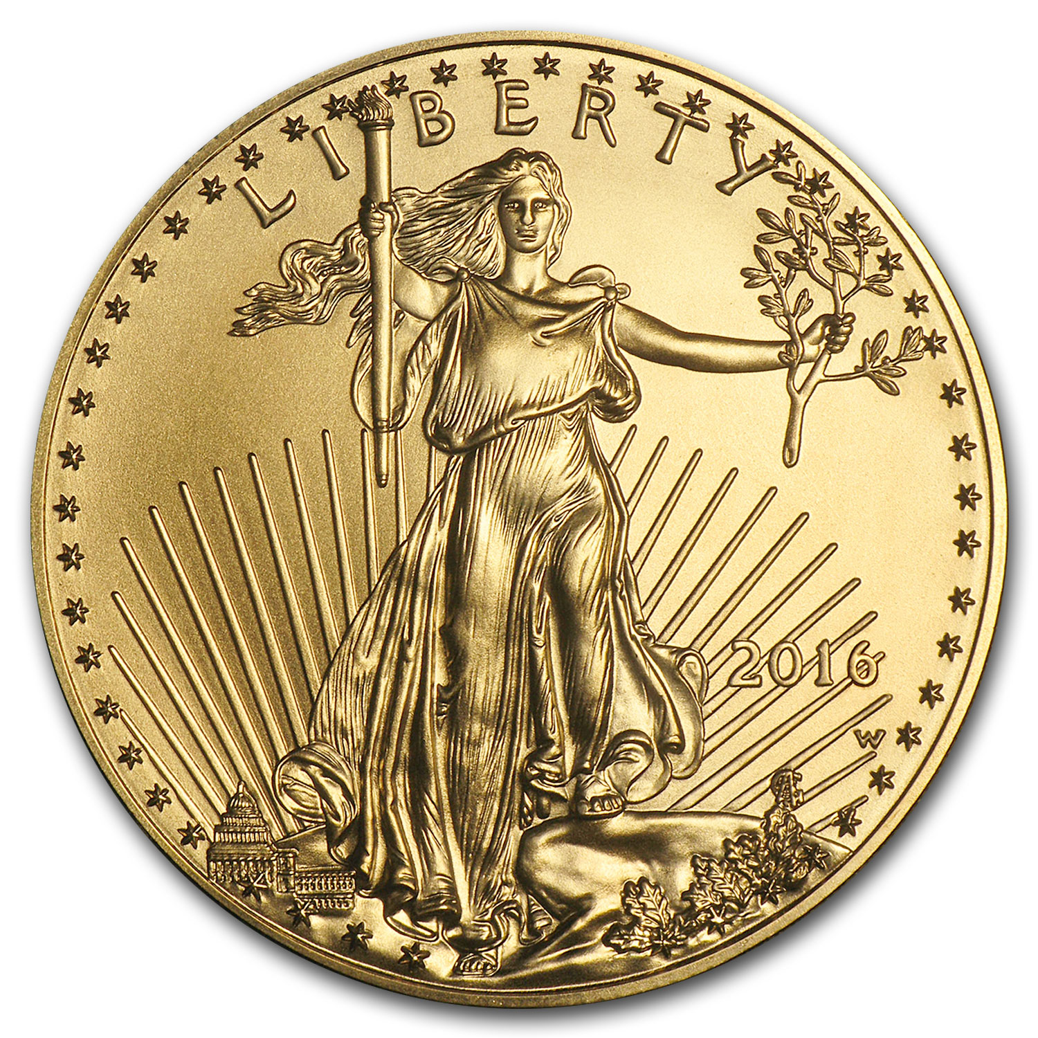 2016-W 1 oz Burnished Gold Eagle (w/Box & COA)