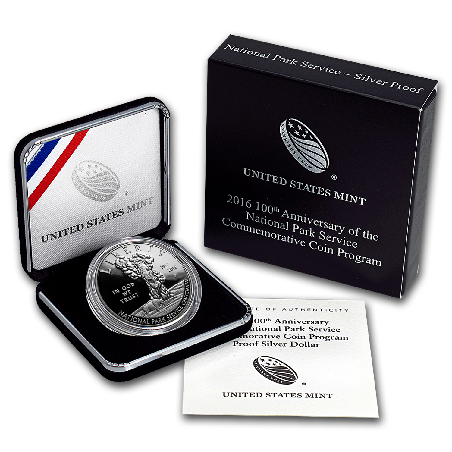 2016-P 100th Anniv National Park Service Silver Prf (Box & COA)