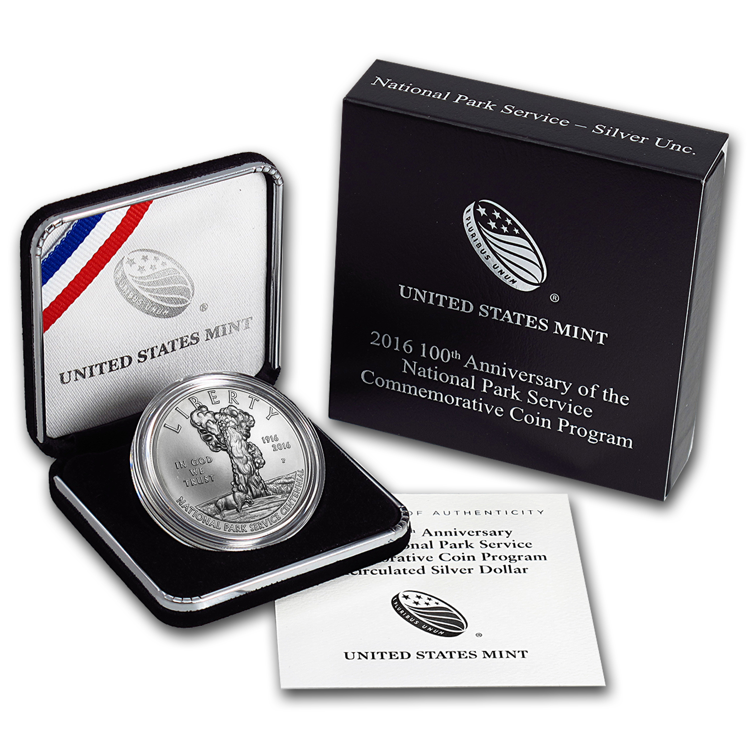2016-P 100th Anniv of the Nat'l Park Service Silver BU (Box/COA)