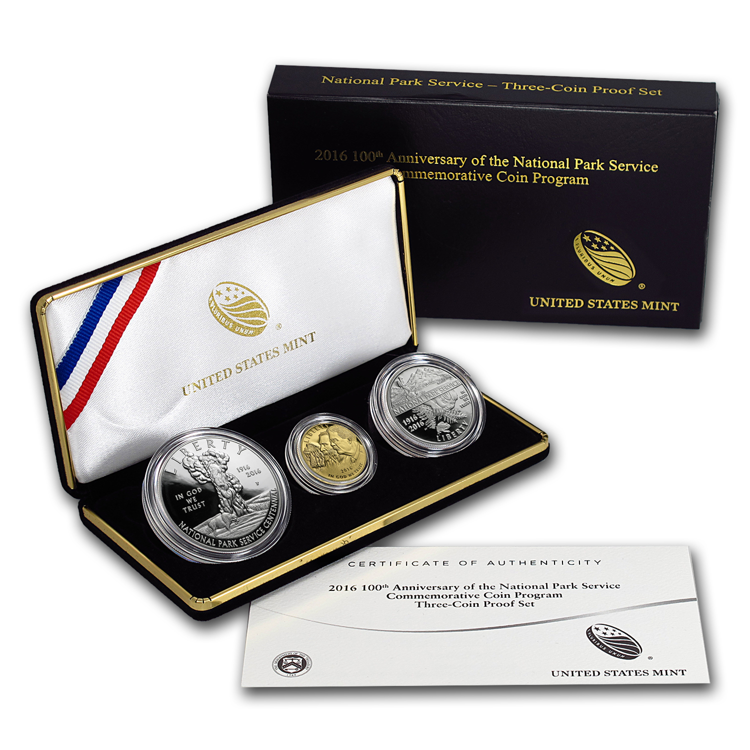 2016 3-Coin 100th Anniv National Park Service Prf Set (Box & COA)