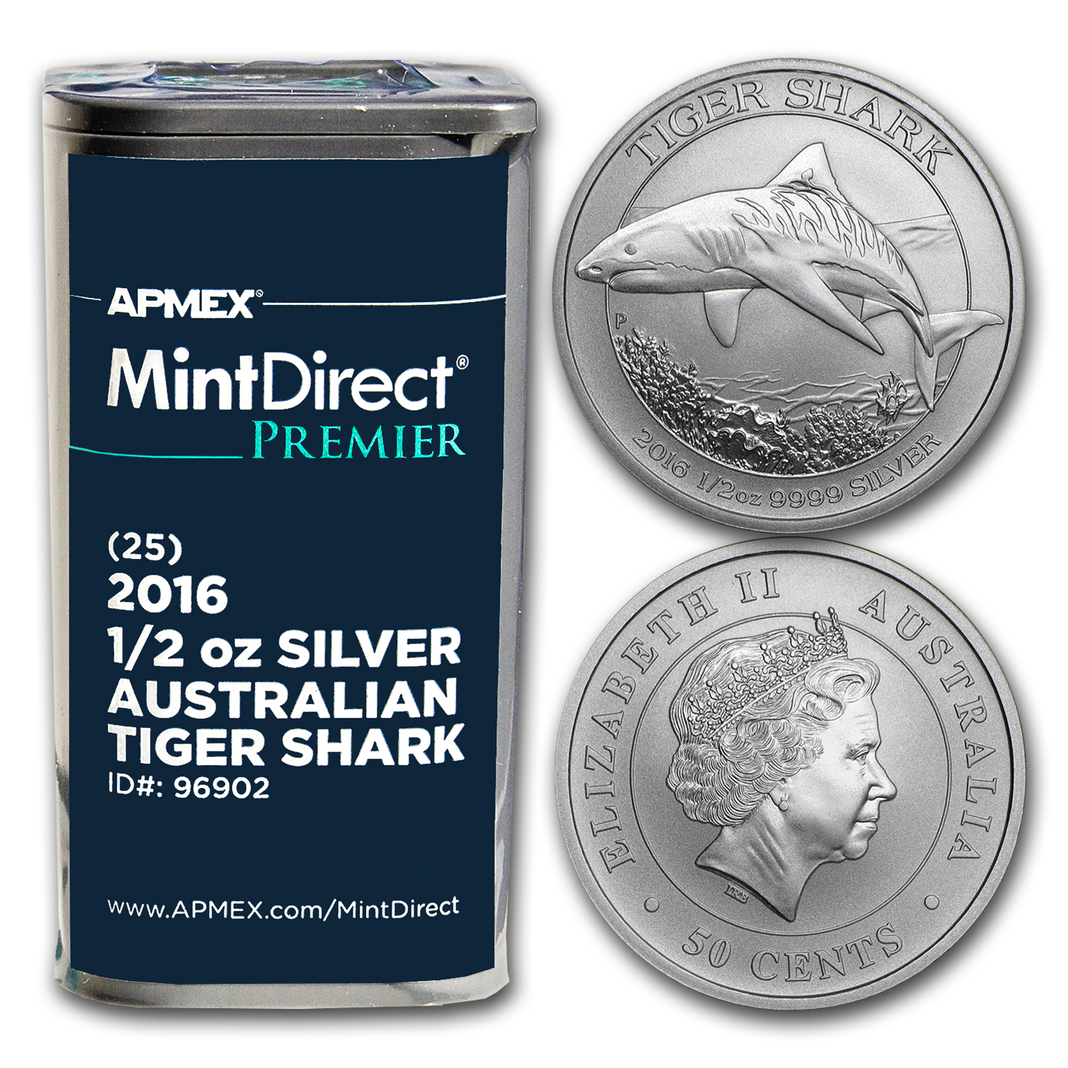 2016 1/2 oz Silver Tiger Shark (25-Coin MintDirect® Premier Tube)