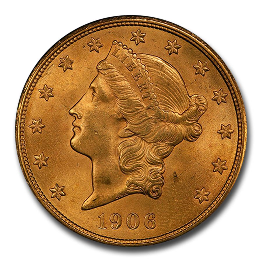 1906-D $20 Liberty Gold Double Eagle MS-64+ PCGS