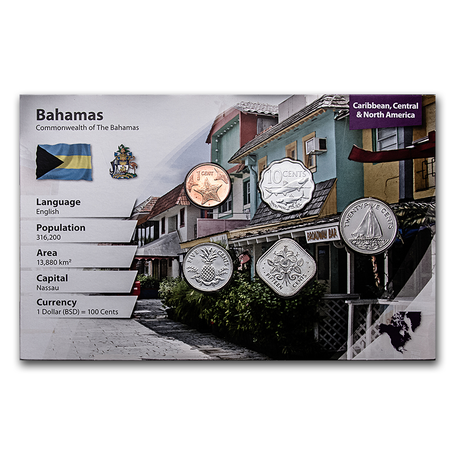 2001-2009 Bahamas 1-25 Cents Coin Set BU (Landscape Packaging)