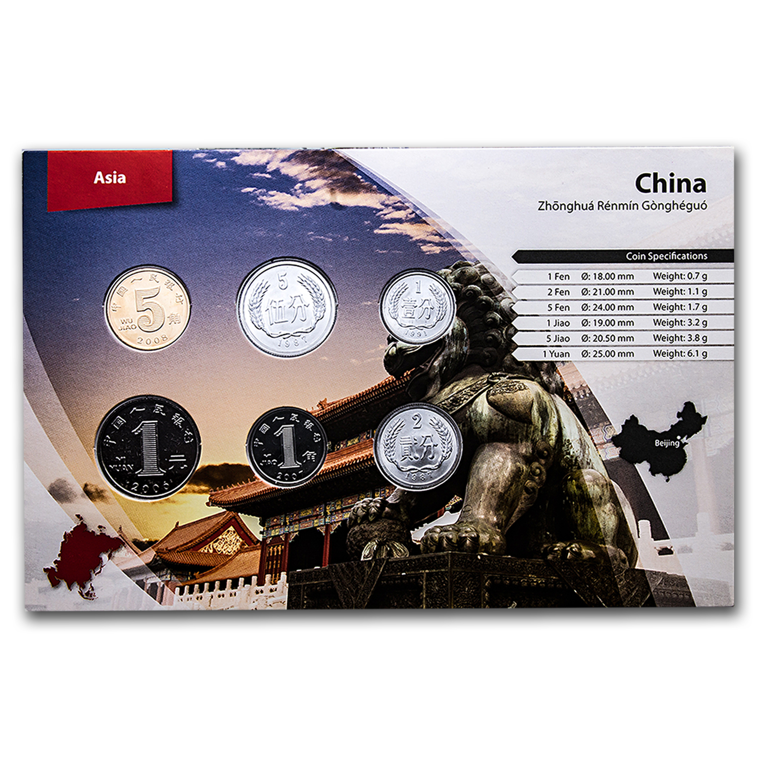 1983-2012 China 1 Fen-1 Yuan Coin Set BU (Landscape Packaging)
