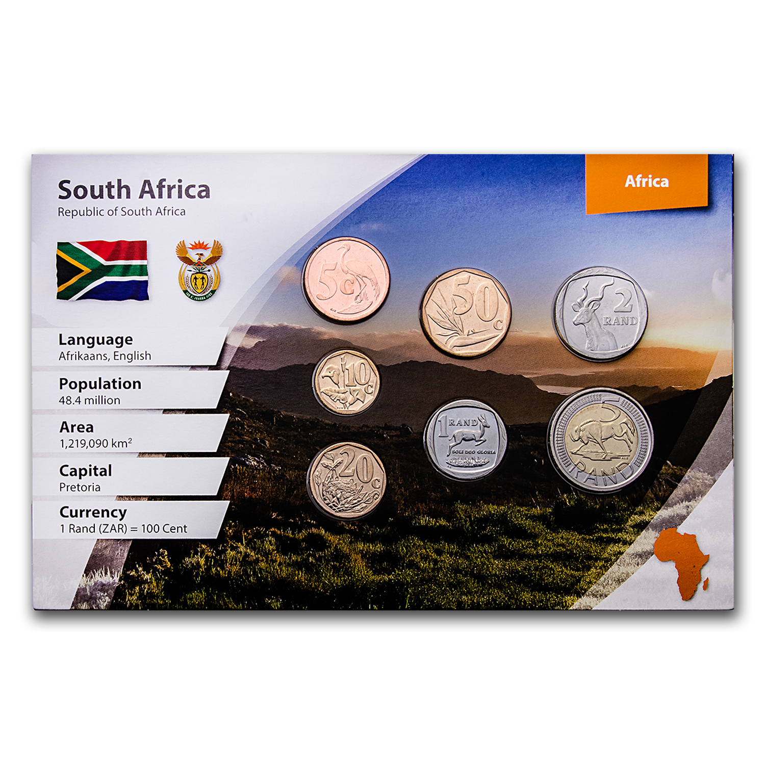 South Africa 7-Coin Rand Set (Landscape Packaging)