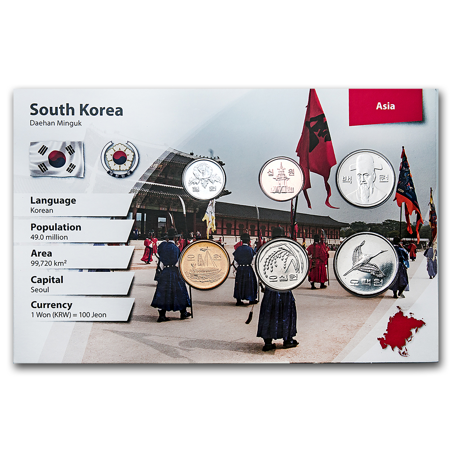 1983-2012 South Korea 1 Won-500 Won Coin Set Unc (Landscape Pkg)