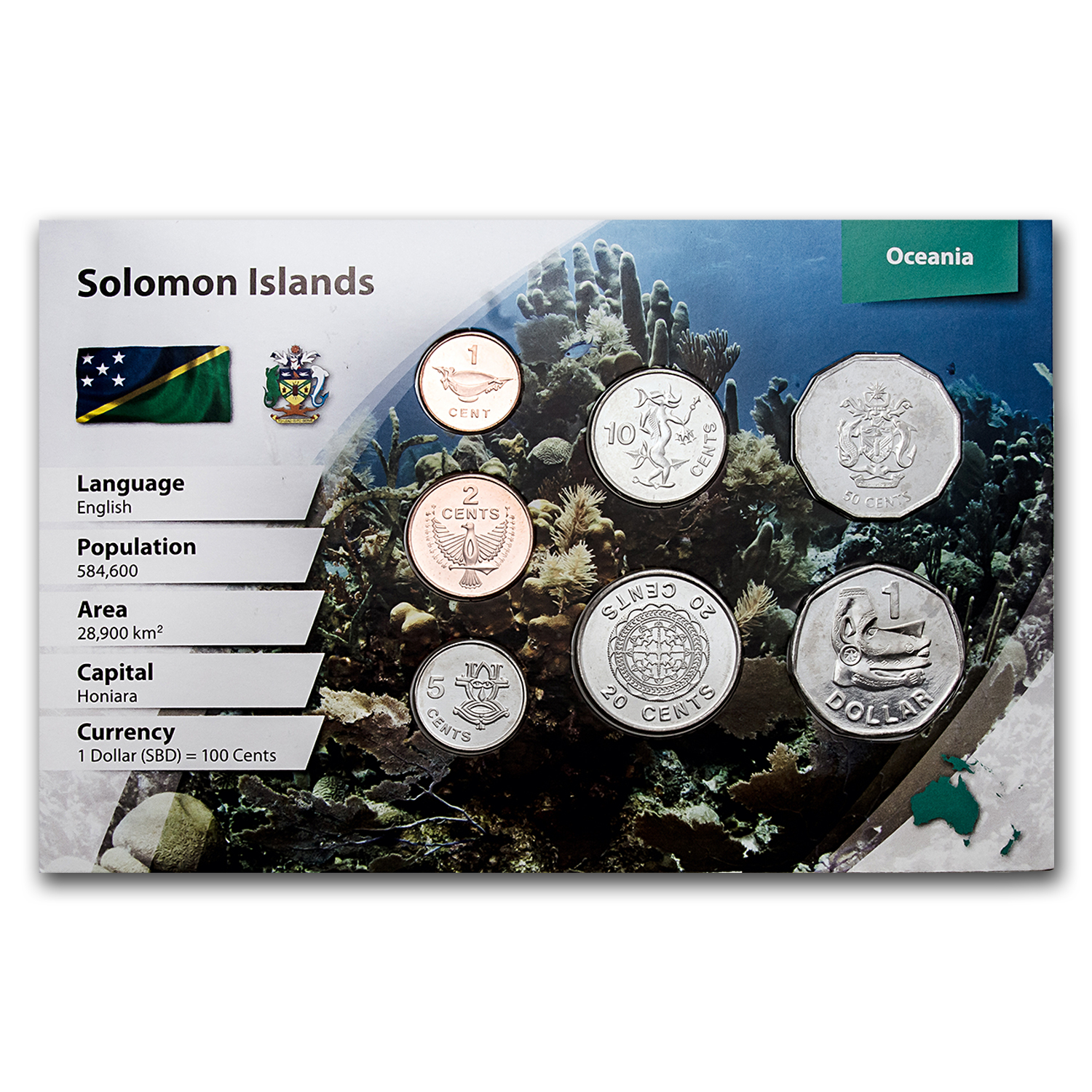 Solomon Islands 7-Coin Set (Landscape Packaging)