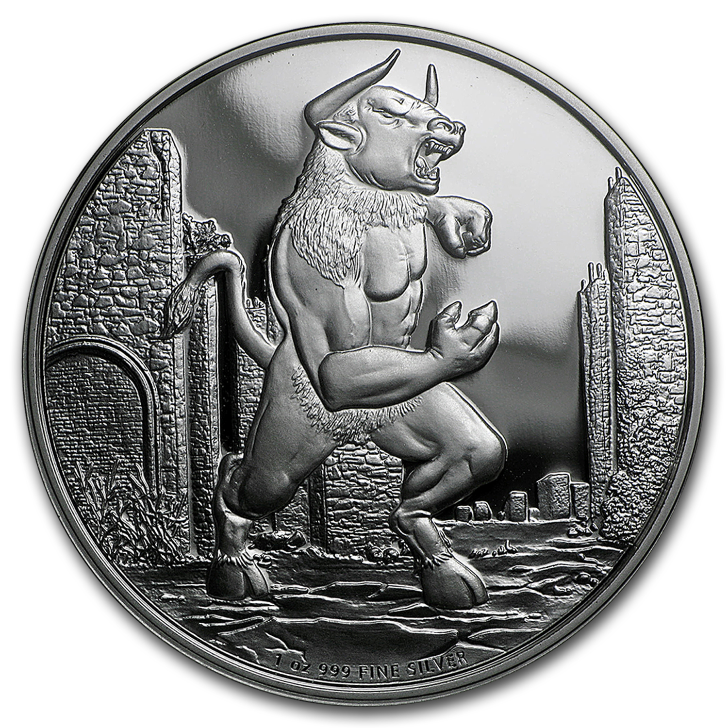 2016 Niue 1 oz Silver $2 Creatures of Greek Mythology Minotaur