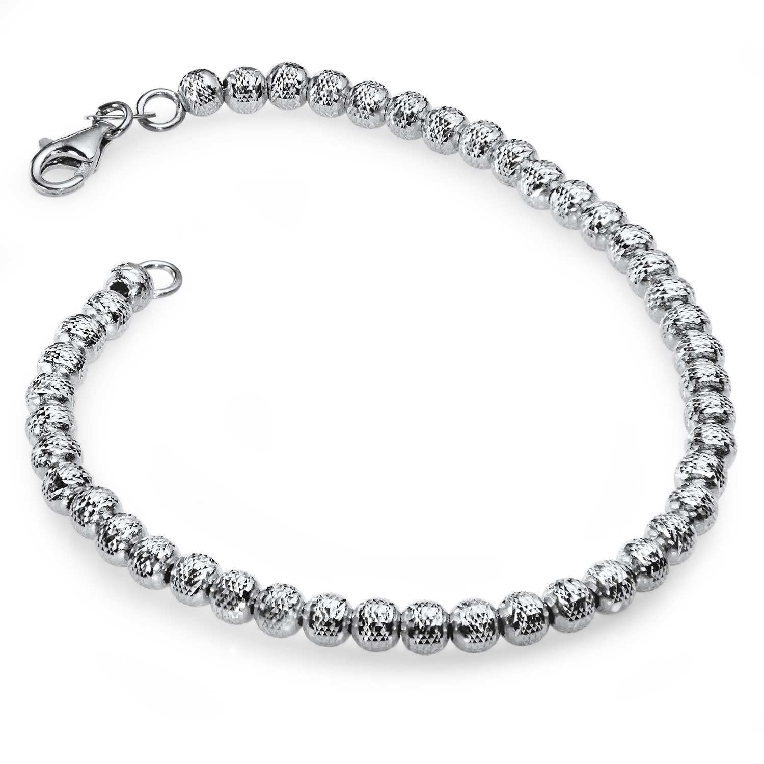14k White Gold Diamond-Cut Beaded Bracelet