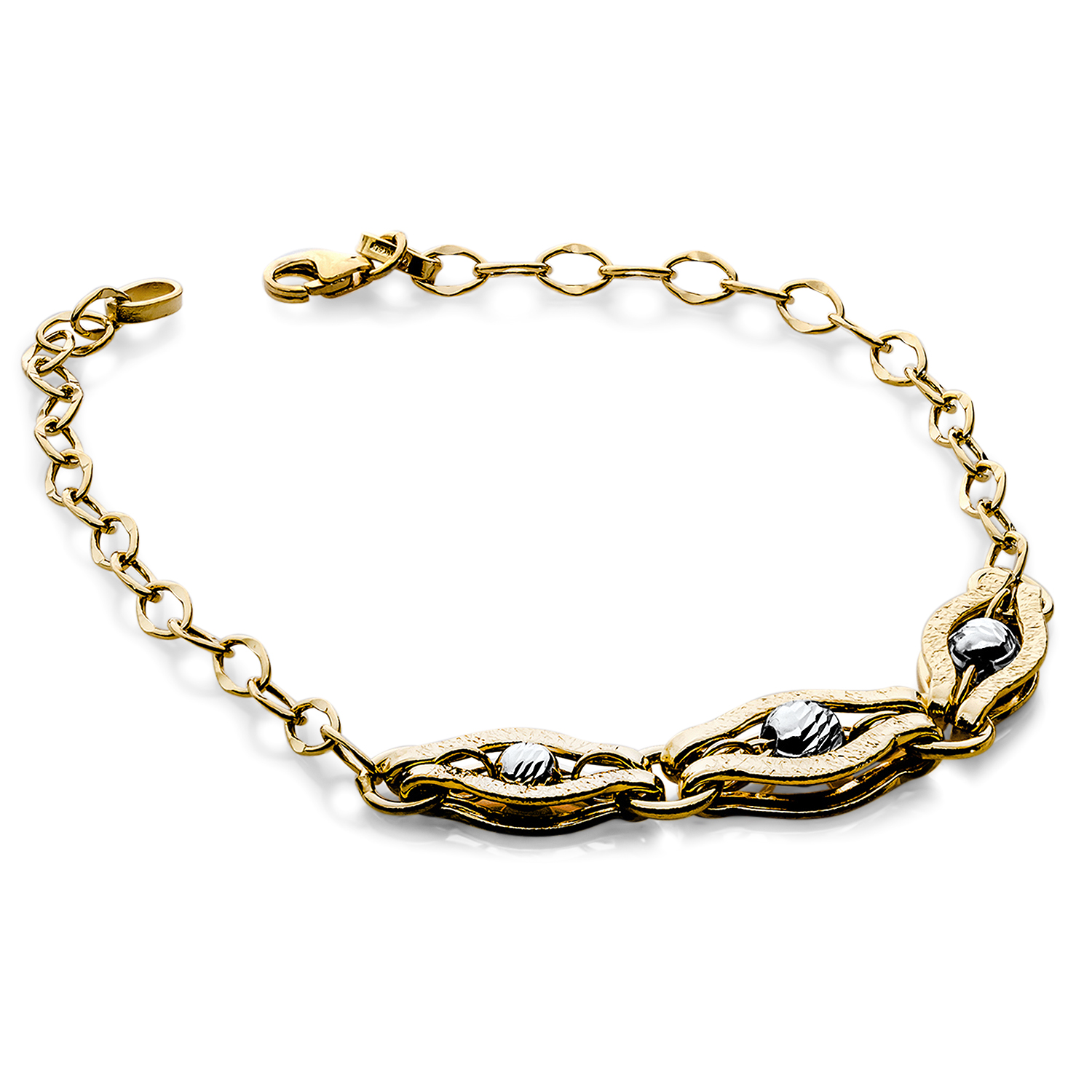 14k Gold Two-Tone Polished and Diamond-Cut Bracelet