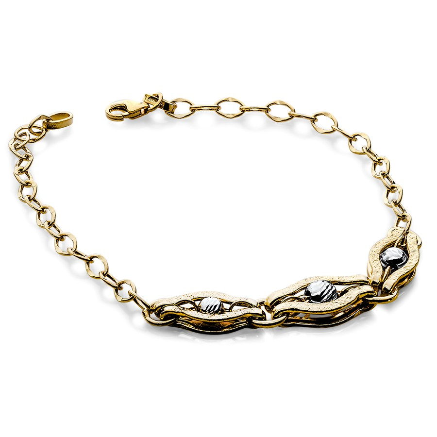 14k gold two tone polished and diamond cut bracelet gold for What is gold polished jewelry