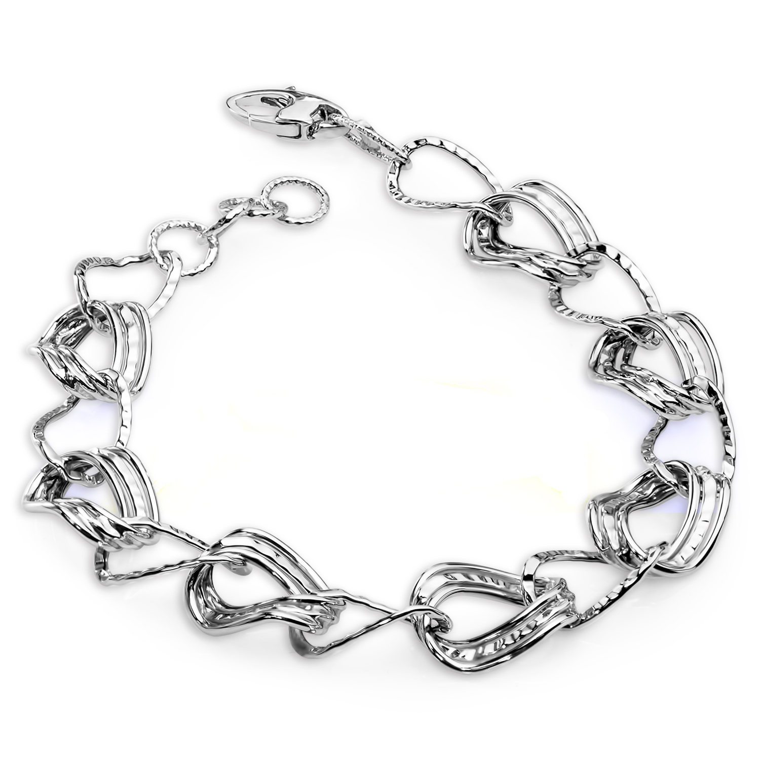 14k White Gold Polished and Textured Bracelet