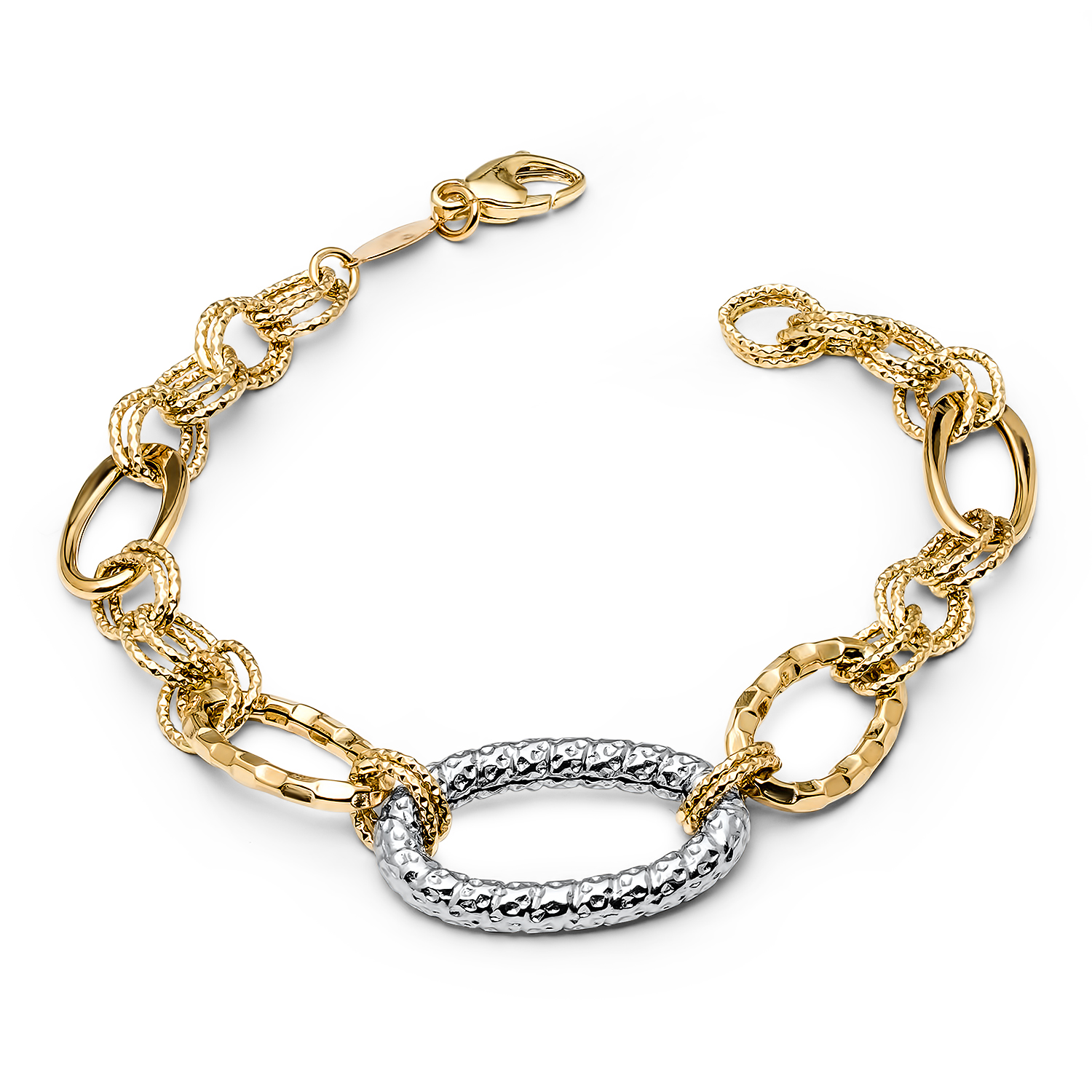 14k Gold Two-Tone Textured Link Bracelet