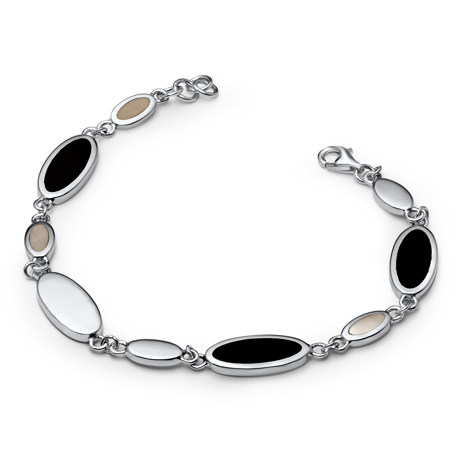 Sterling Silver Onyx & Mother of Pearl Bracelet