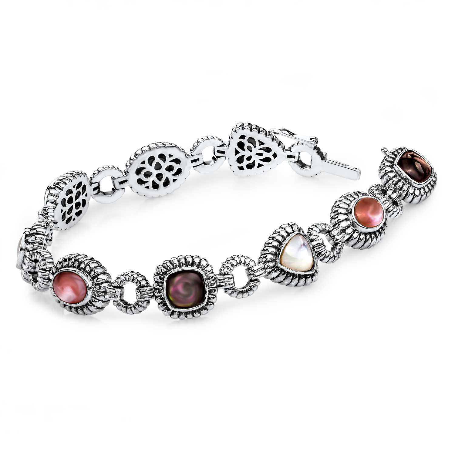 Sterling Silver Pink/Black/White Mother of Pearl Bracelet