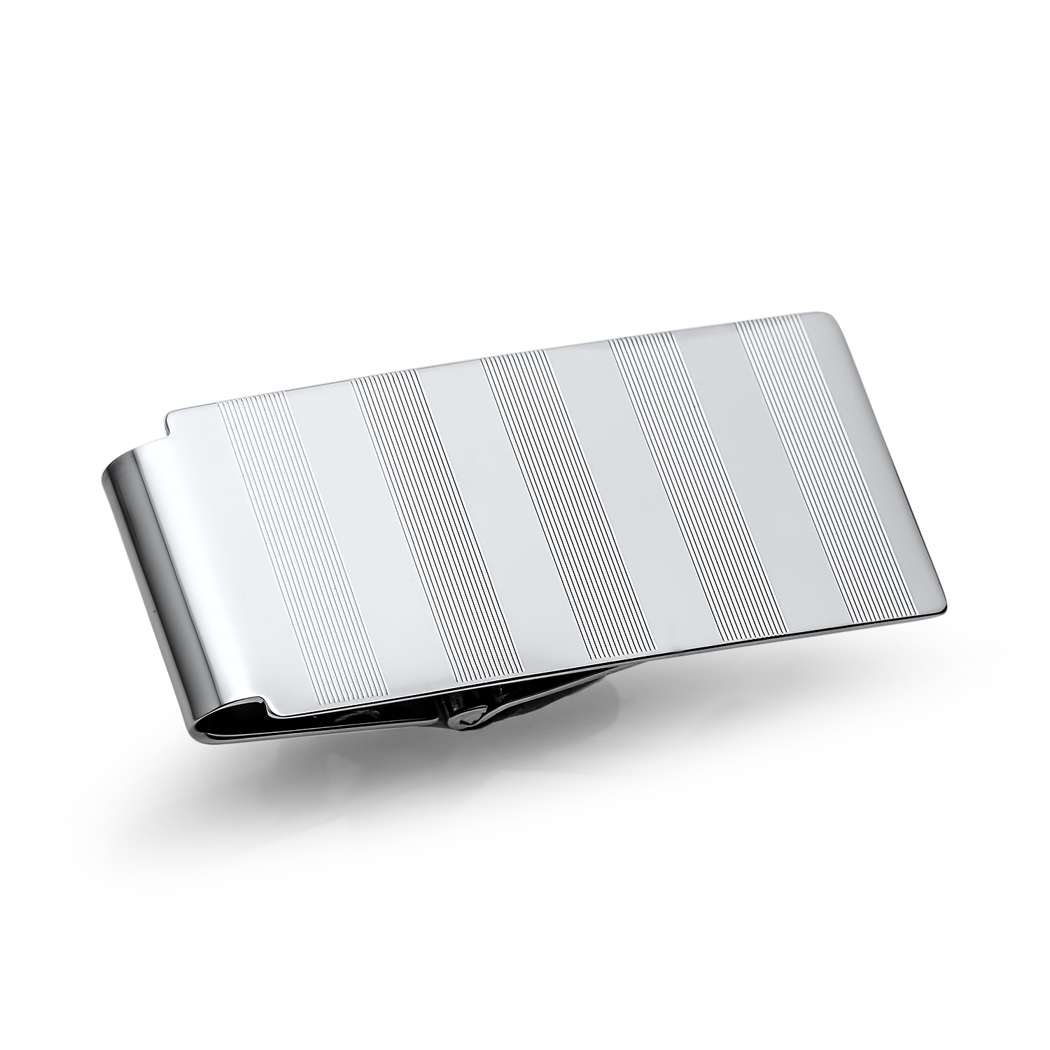 Rhodium-Plated Striped Hinged Money Clip