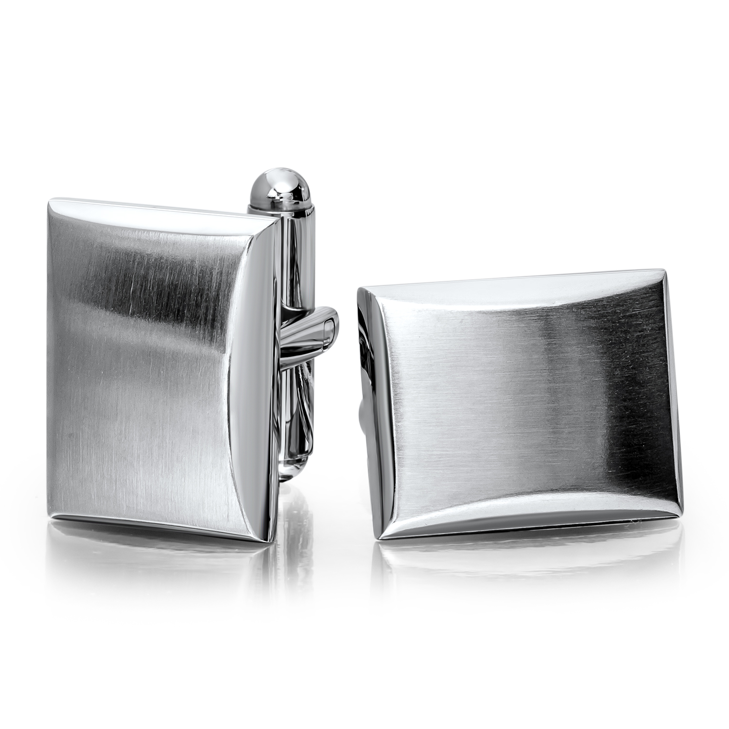 Stainless Steel Brushed & Polished Rectangle Cuff Links